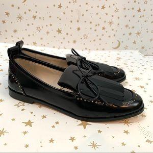 Zara | Kiltie Fringe Pearl Back Patent Loafers 9